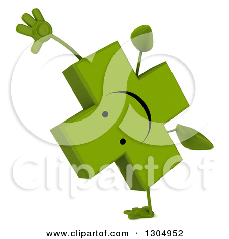 Clipart of a 3d Happy Green Naturopathic Cross Character.