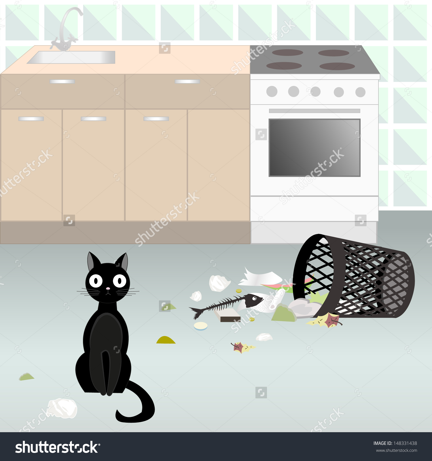 Illustration Of Black Naughty Cat, Who Threw Out Garbage Out Of.