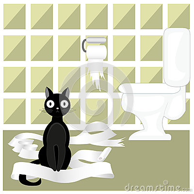 Fun Naughty Black Cat Stock Vector.