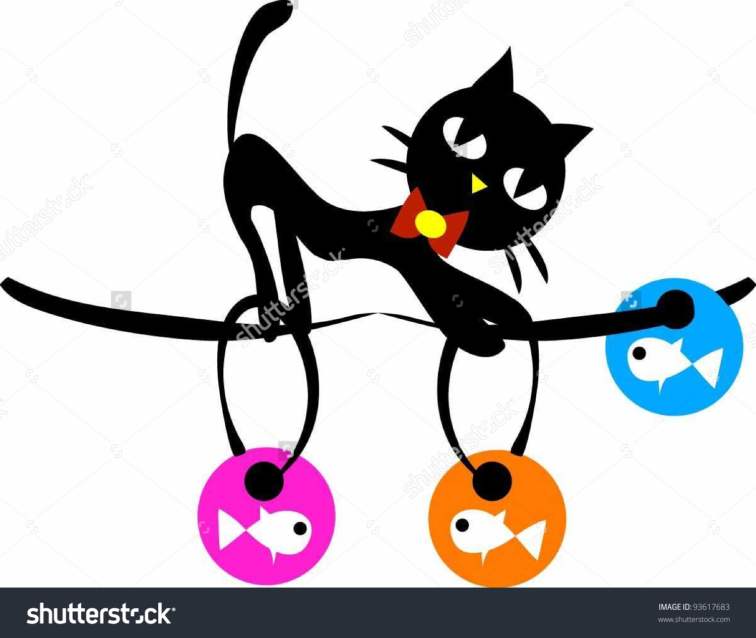 Naughty Black Cat Find Fishs Stock Vector 93617683.