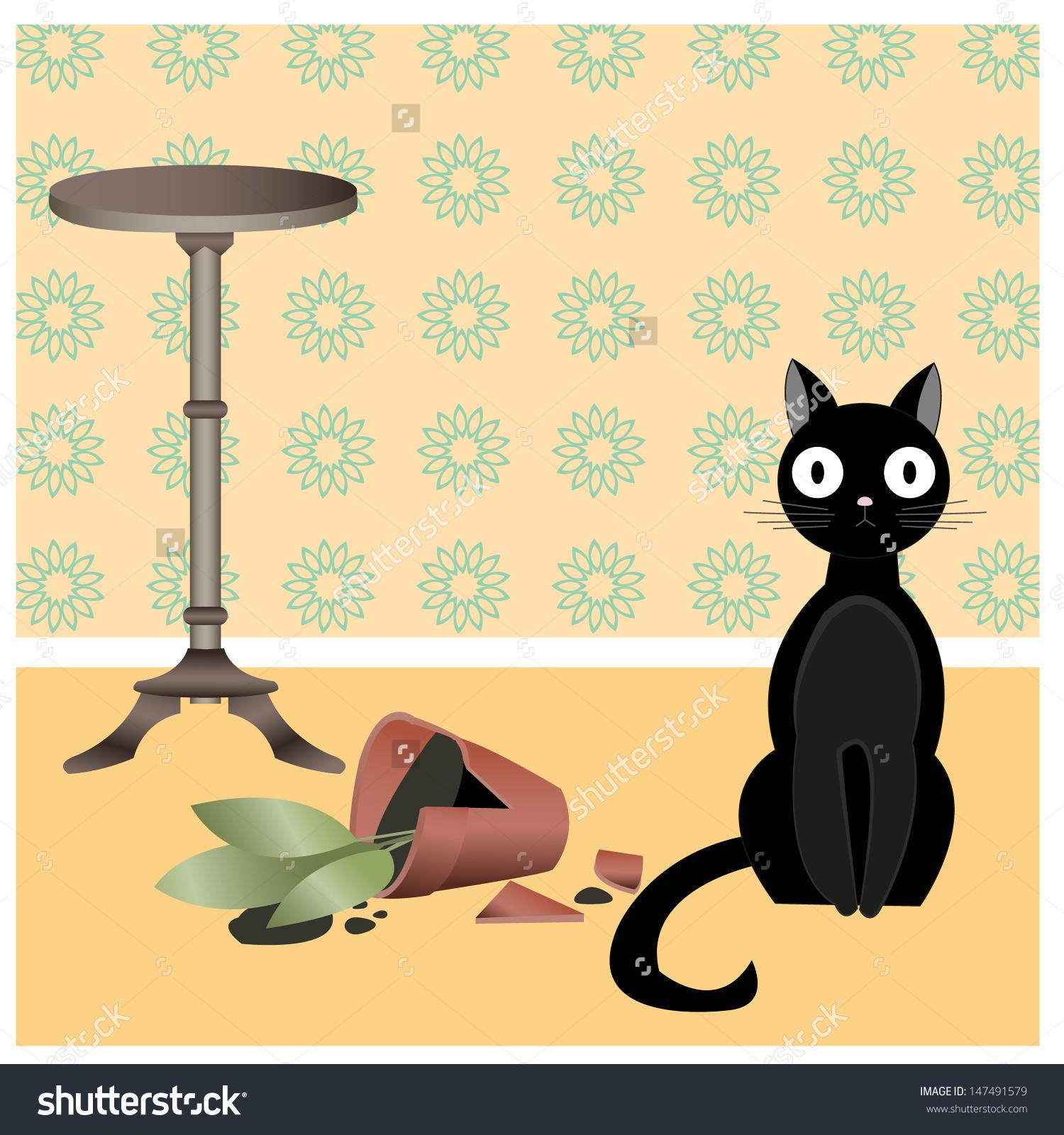 Illustration Black Naughty Cat Who Broke Stock Vector 147491579.