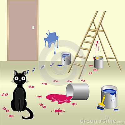 Fun Naughty Black Cat Stock Vector.