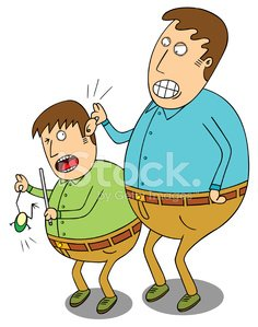 Punishment for naughty boy Clipart Image.
