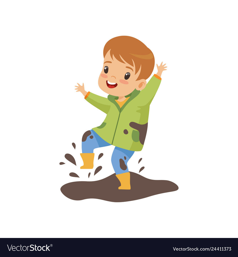 Cute boy jumping in dirt cute naughty kid bad.