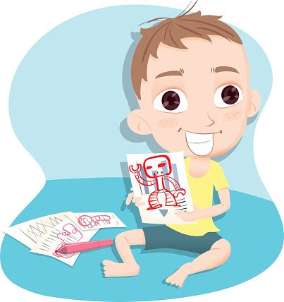 cartoon naughty kid. Clipart Image.