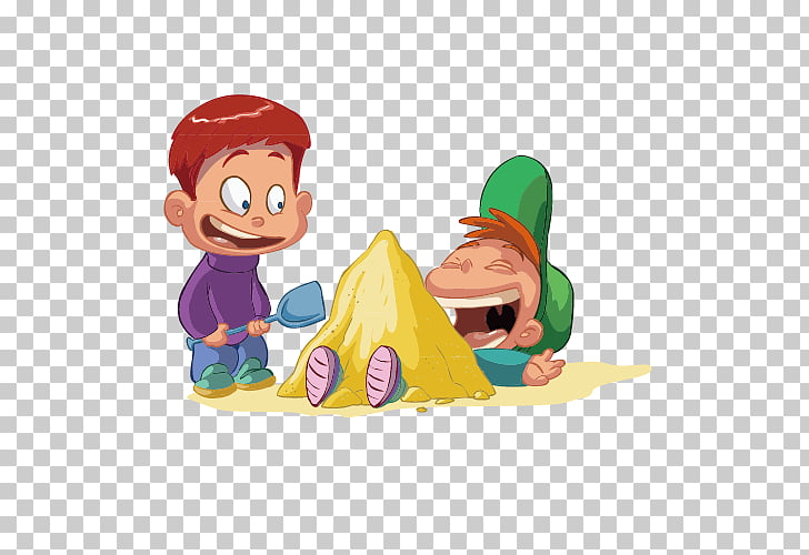 Child Cartoon , Two naughty children playing in the sand PNG.