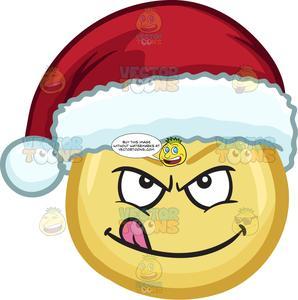 A Naughty Emoji Wearing A Santa Hat.