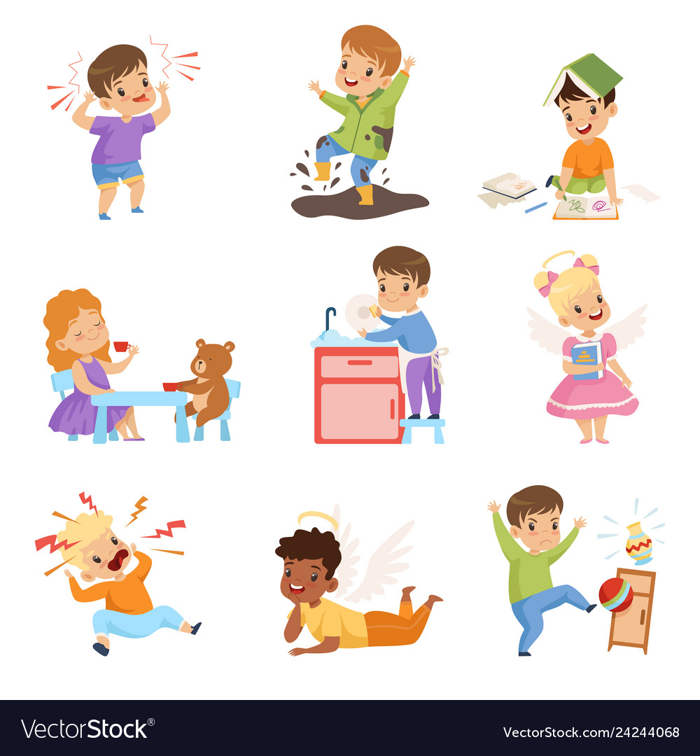 Naughty and obedient kids set children with good.