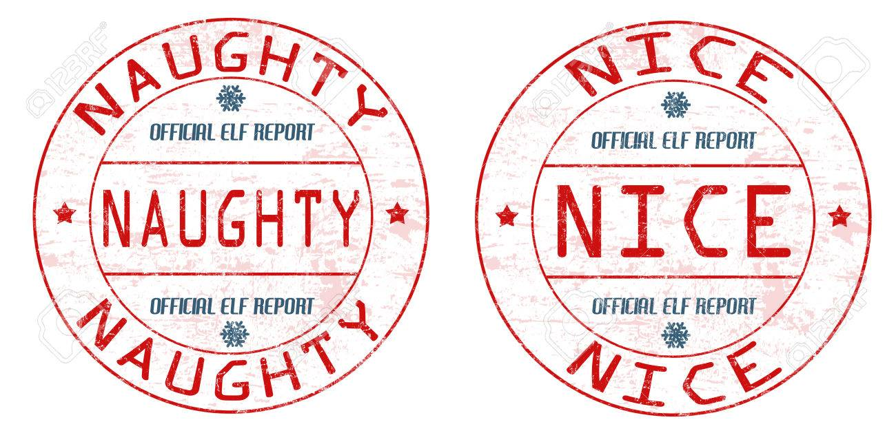 Naughty and nice grunge rubber stamps on white background, vector...