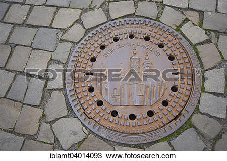 "Stock Photo of ""Naumburg Cathedral on a manhole cover, Naumburg."