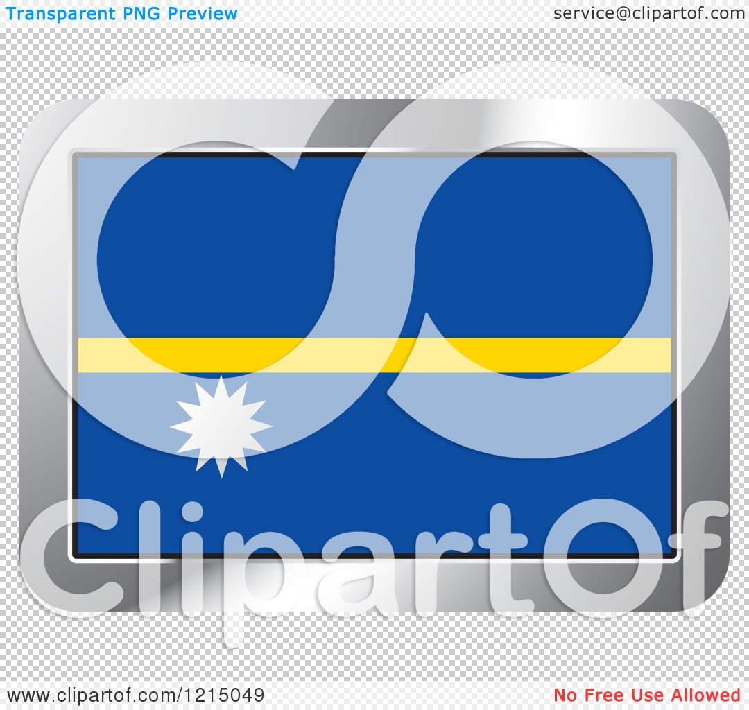 Clipart of a Nauru Flag and Silver Frame Icon.