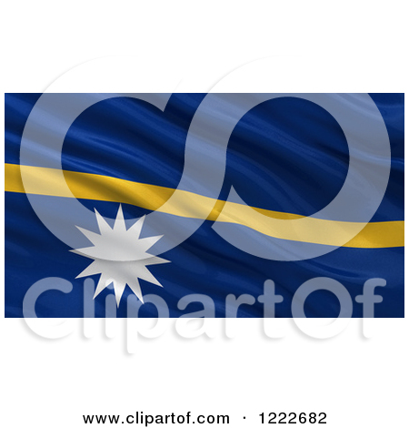 Clipart of a 3d Waving Flag of Nauru with Rippled Fabric.