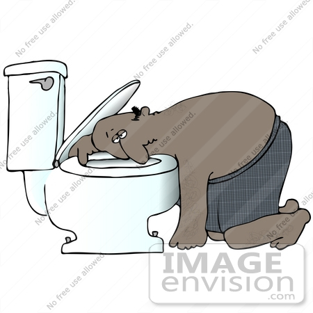 Clip Art Graphic of a Nauseated Hispanic Or African American Man.
