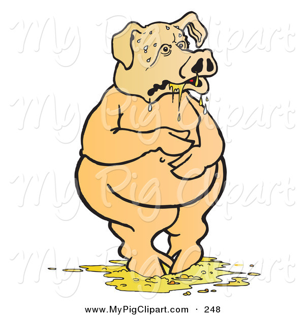 Swine Clipart of a Nauseated Pig Standing in Throw up by Snowy.