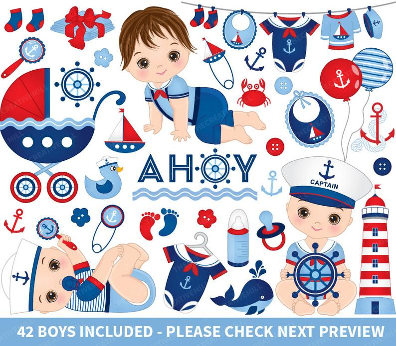 Nautical Baby Boy Clipart.