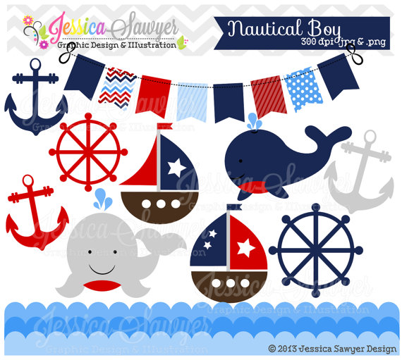 INSTANT DOWNLOAD, baby boy sailing clip art for personal and.