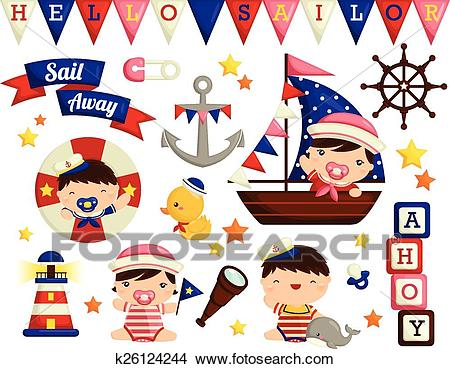 Nautical Baby Vector Set Clipart.