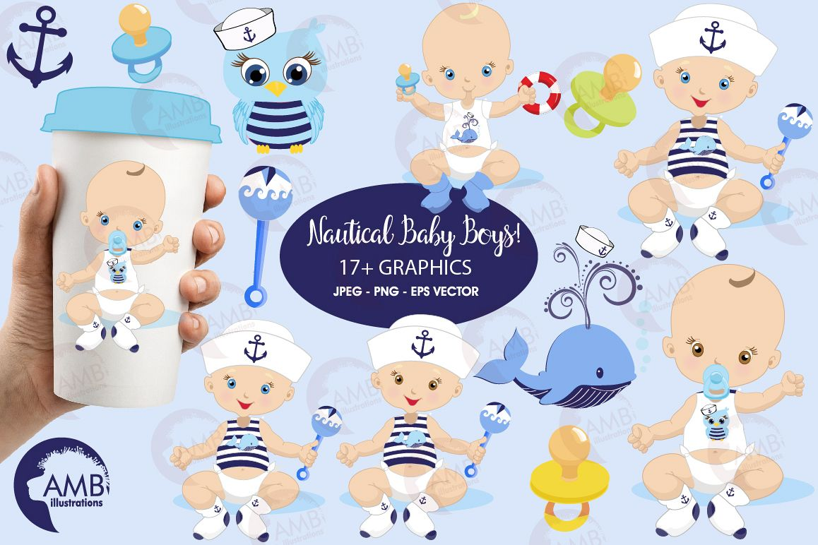 Nautical Baby Boys cliparts, AMB.