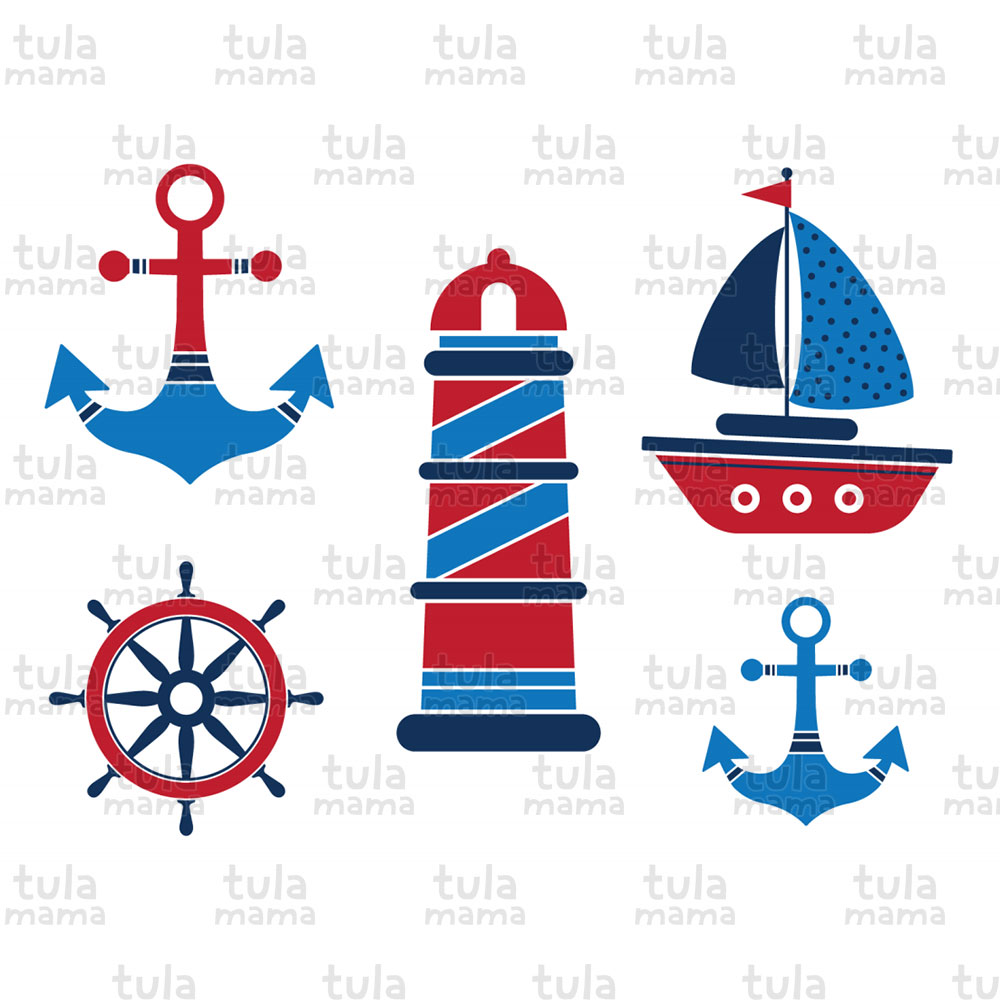 Blue and Red Nautical Baby Shower Clipart.