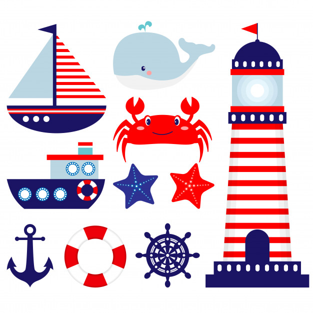 Nautical clip art set Vector.