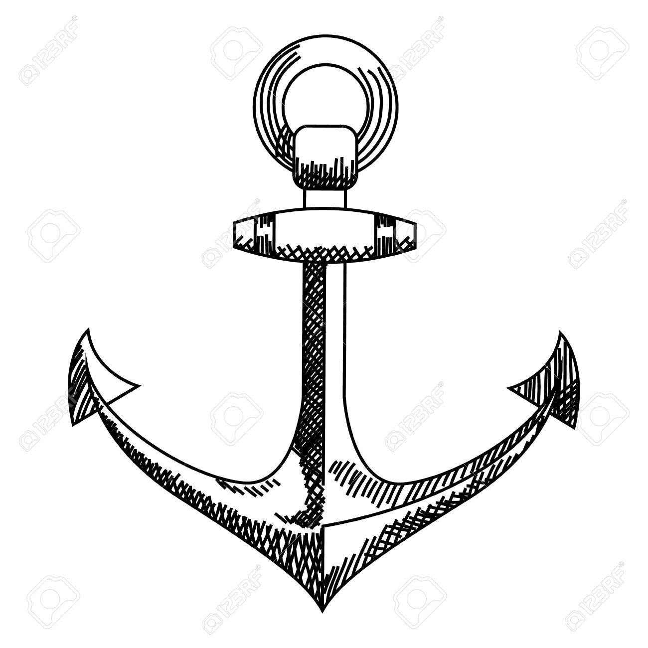 Anchor icon. Nautical Anchor vector isolated white, black.
