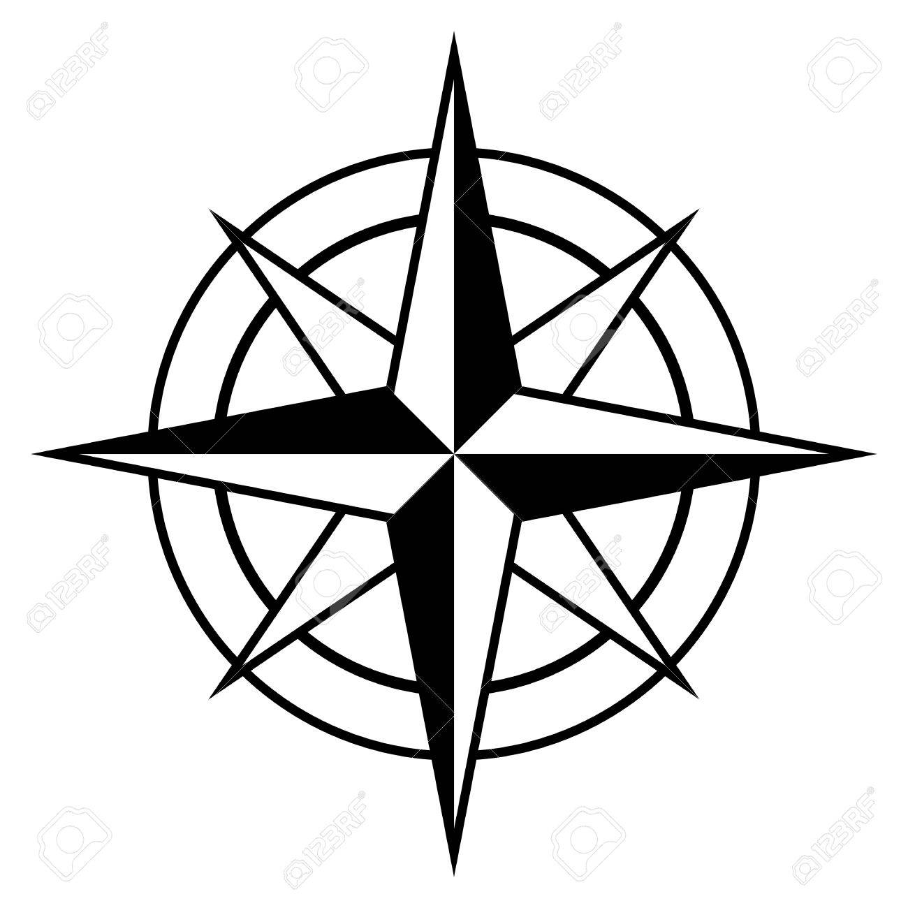 Antique style compass rose icon in black and white for marine...