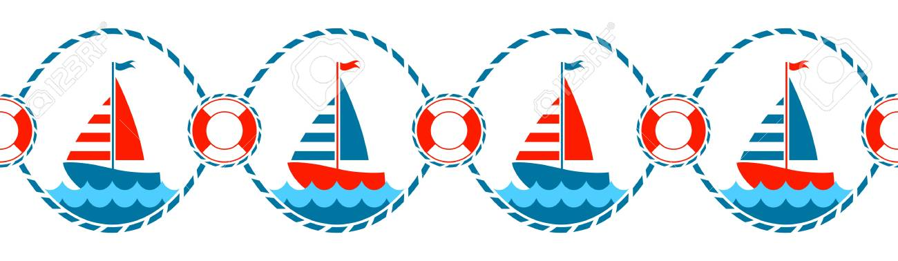vector seamless nautical border.