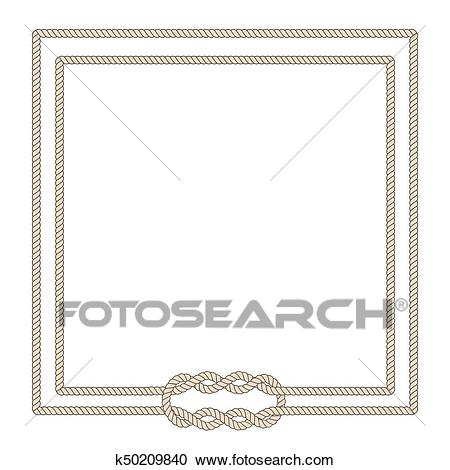 Blank poster template with nautical border Clipart.
