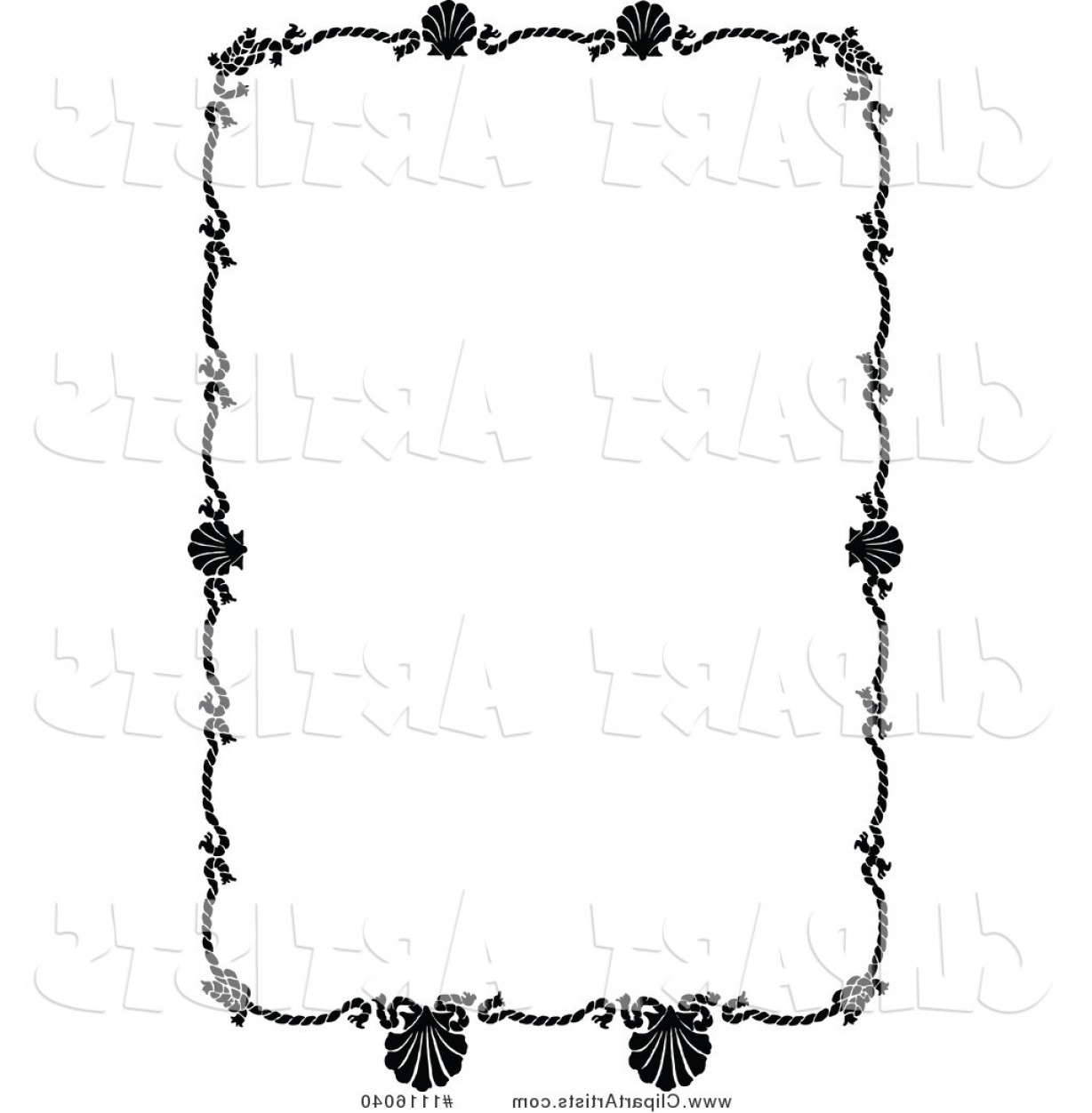Vector Clipart Retro Vintage Black And White Rope And.