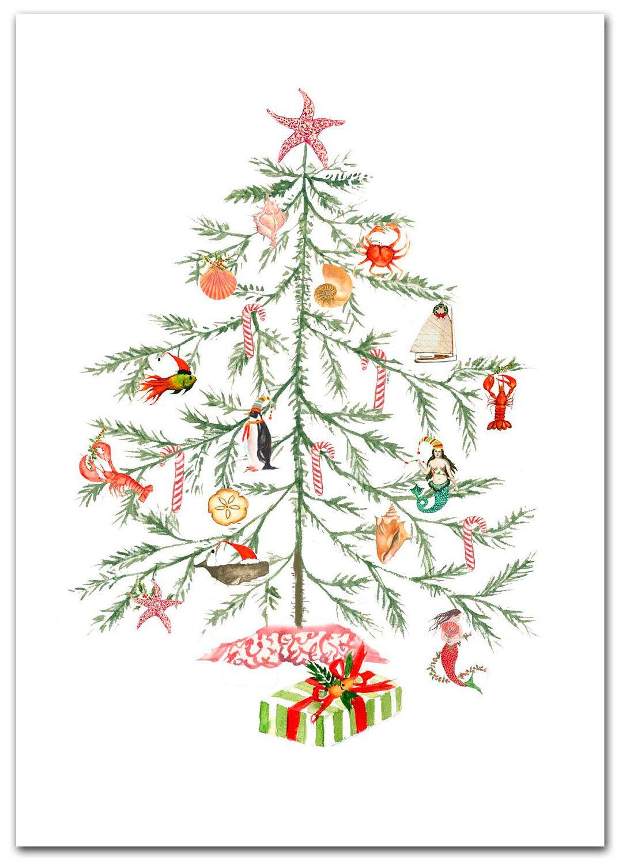 Christmas Nautical Tree cards. Original artwork.10 per box.
