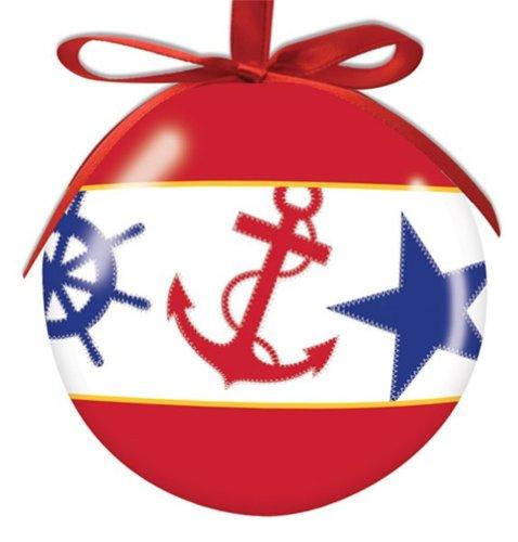 Nautical Chic Anchor High Gloss Resin Christmas Ornament.