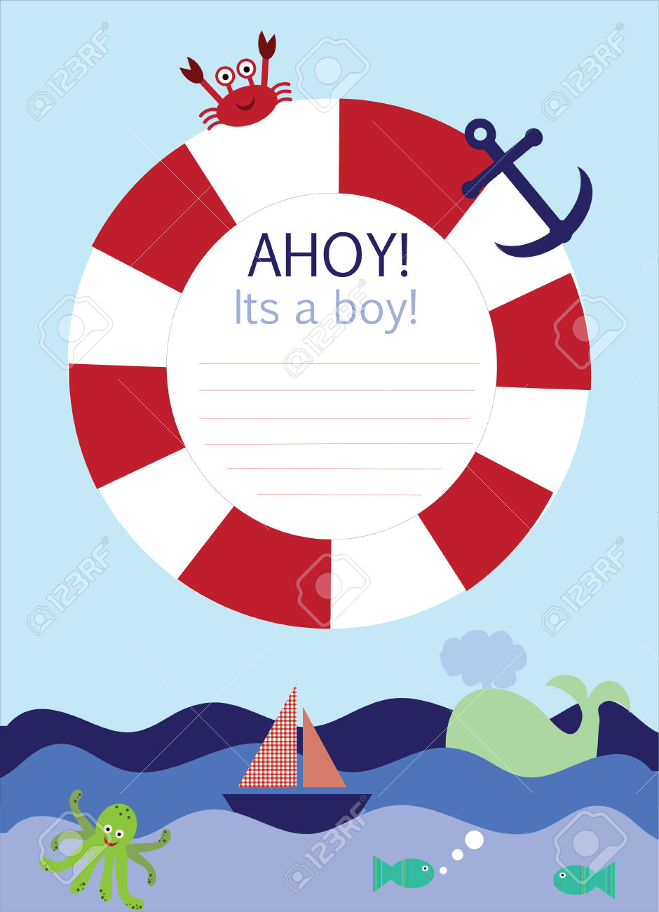 Nautical Borders Clipart Baby Shower.