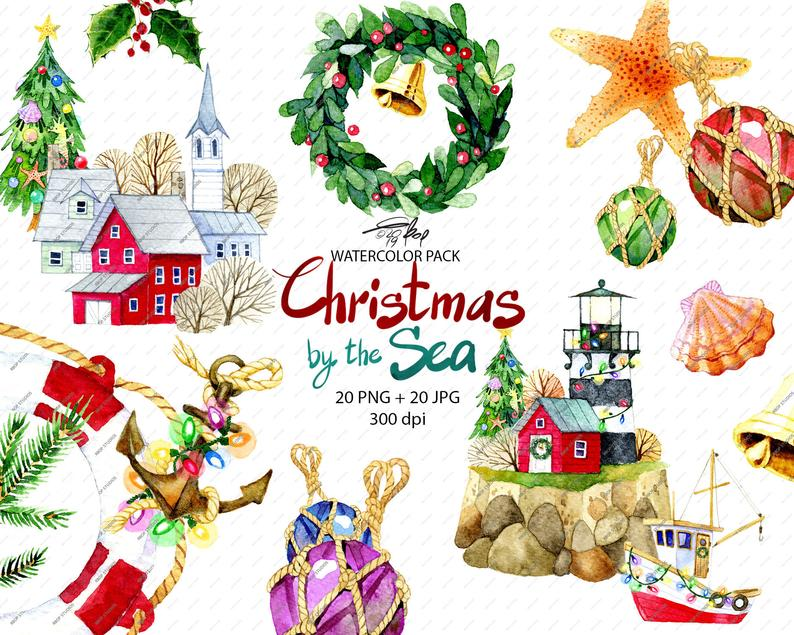 Christmas clipart, watercolor clipart, ocean, nautical, multi.