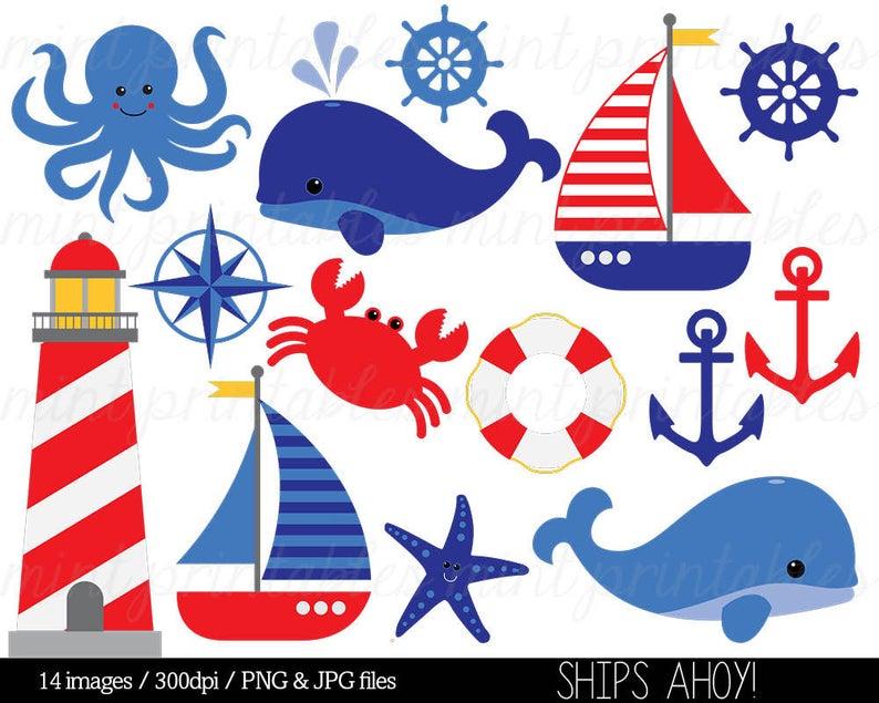 Nautical Clipart Clip Art, Anchor Clipart, Whale Clipart, Sailing Ocean  Lighthouse Sailboat Sea.
