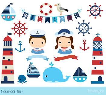 Nautical clipart, Sailboat clip art, Lighthouse clipart, Sailor, anchor,  whale.
