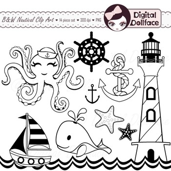 Black and White Nautical Clip Art, Black Lines Clipart Graphics.