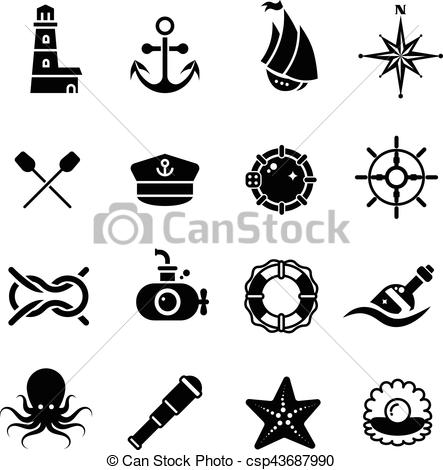 Marine, sea, nautical, pirate, maritime vector retro icons.