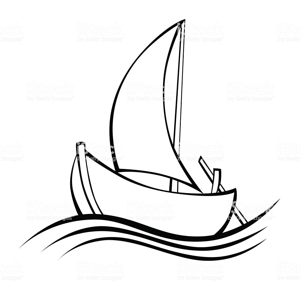 Sailing Boat Black White Isolated Object Illustration Vector Stock  Illustration.