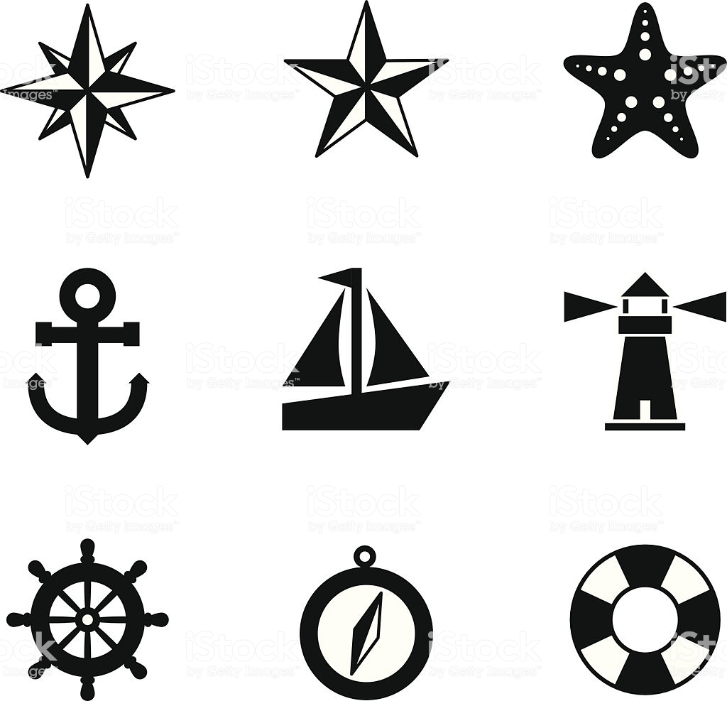 Black And White Nautical Icons Stock Illustration.