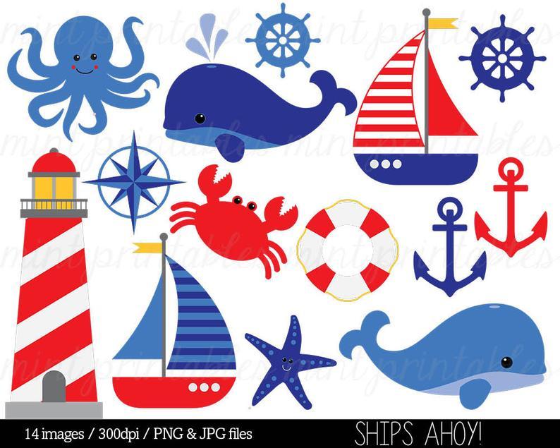 Nautical Clipart Clip Art Anchor Clipart Whale Clipart.