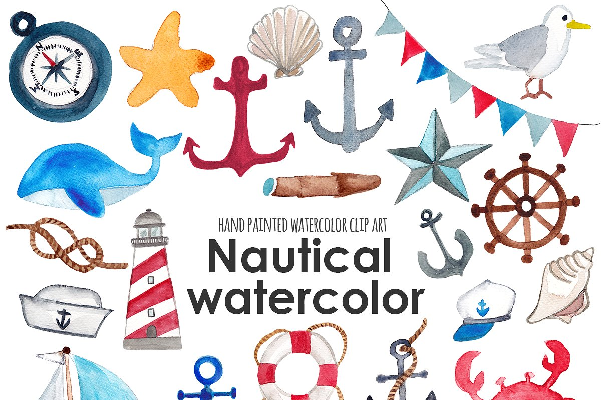 Nautical watercolor clip art ~ Illustrations ~ Creative Market.