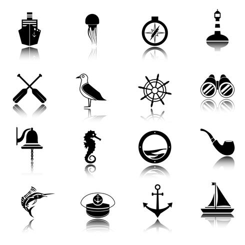 Nautical icons set black.