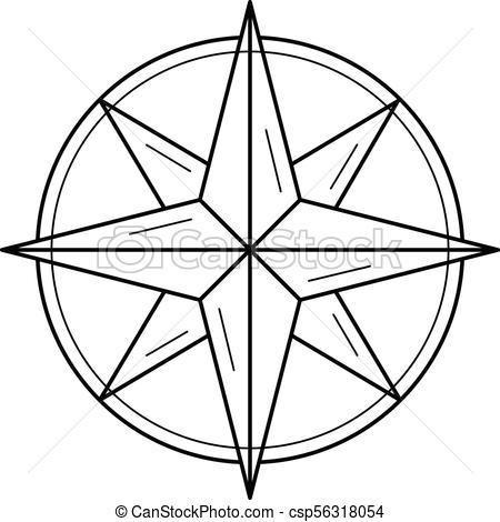 Nautical compass line icon..