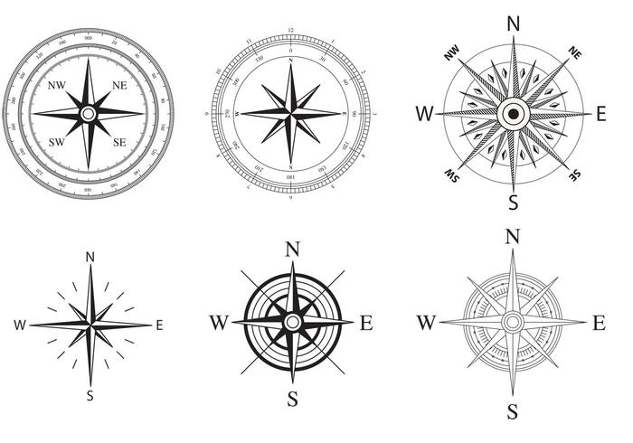 Wind and Nautical Compass Rose Vectors.