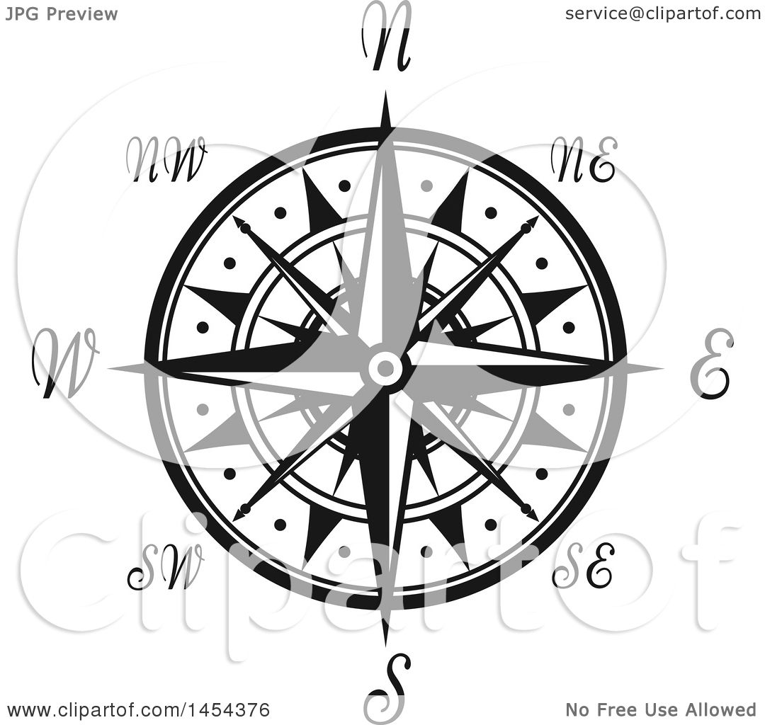 Clipart Graphic of a Black and White Nautical Compass Rose.