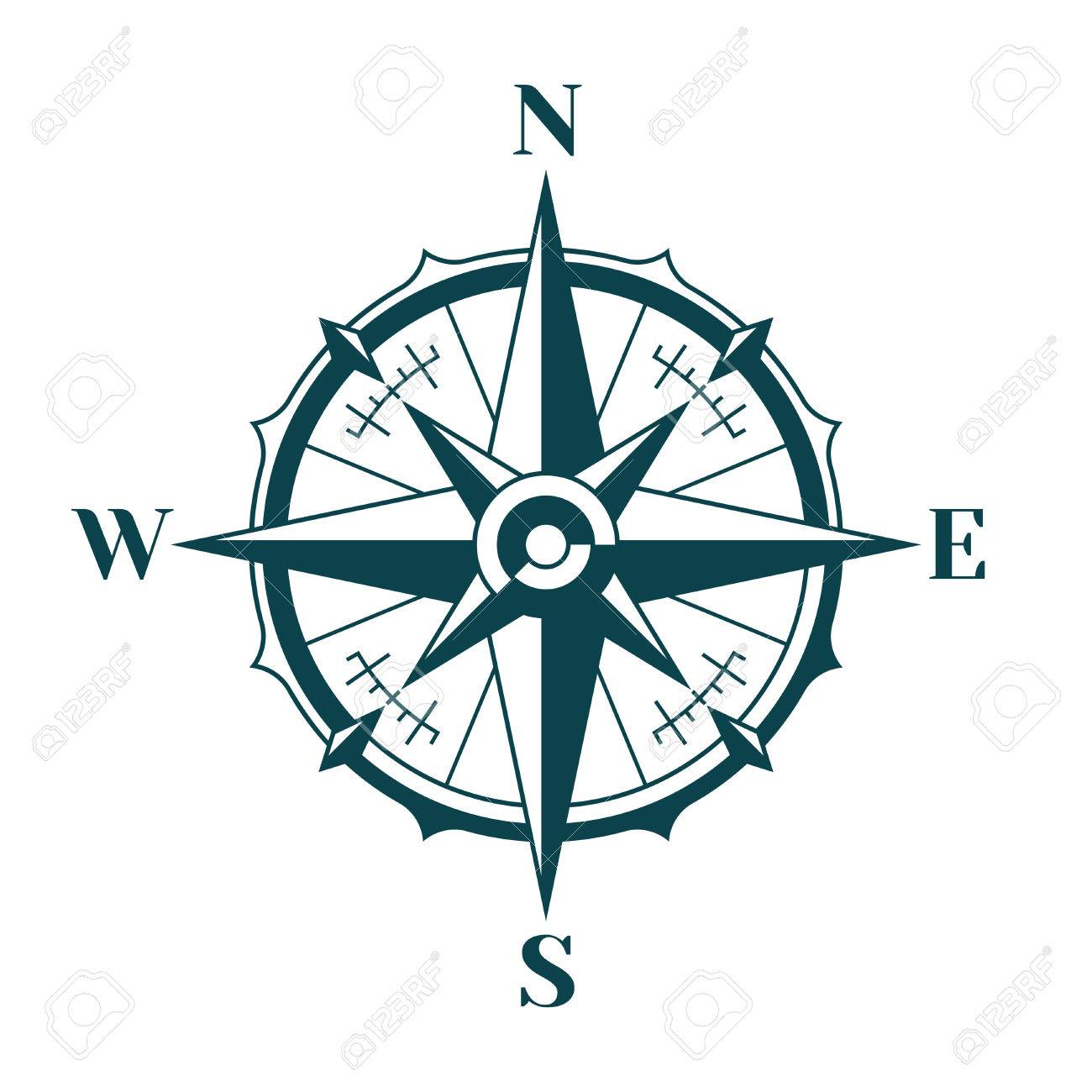 Vintage nautical compass rose..