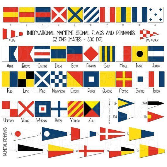 International maritime signal flags and pennants clip art.