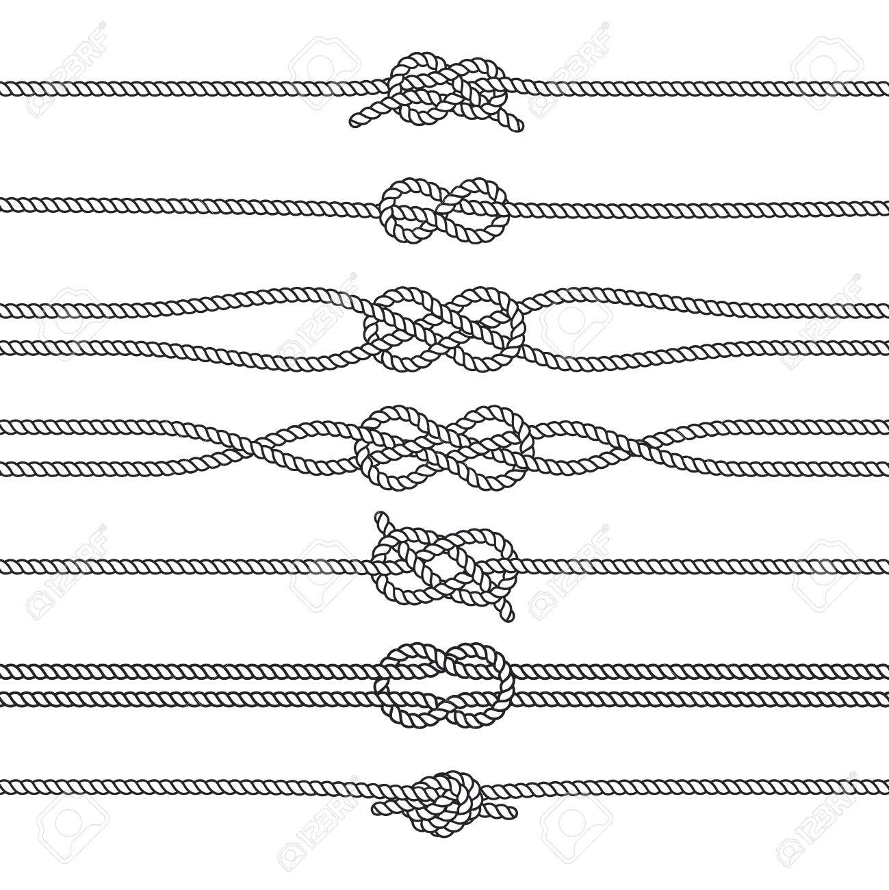 Sailing knots horizontal borders or deviders. Vector marine decorations.