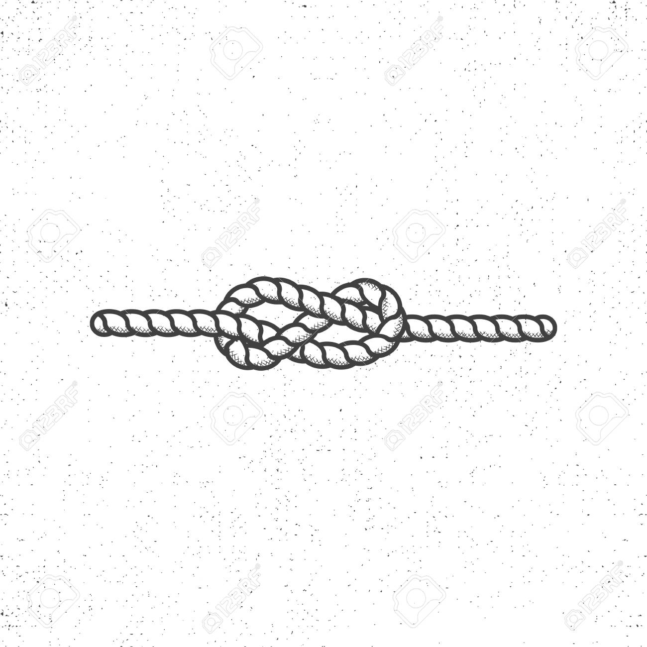 Nautical rope knot symbol on vintage roughen style. Monochrome...