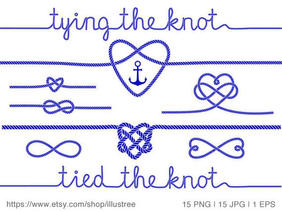 Tying the knot, wedding invitation, nautical clip art, rope heart, anchor,  navy blue, commercial use, JPG, PNG, vector EPS, instant download.